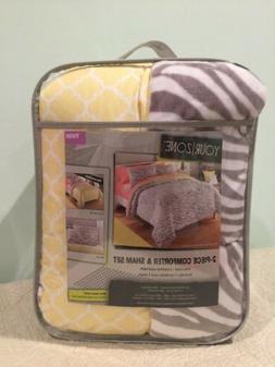 Twin Size Comforter Set, Gray And Yellow Zebra Print Reversi
