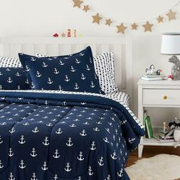 Twin XL Full Queen Bed Bag Navy White Anchors Nautical 7 pc
