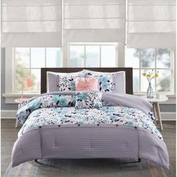 Twin XL Full Queen Bed Navy Blue Pink White Floral Striped 5
