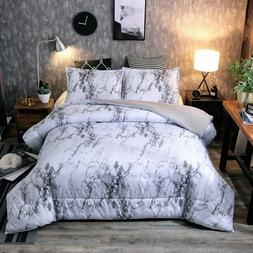 Ultra Soft Down Alternative Marble Comforter Set Gray Pillow
