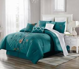 NEW CHIC MODERN EMBROIDERY ORANGE FLOWERS BEDROOM TEAL BLUE