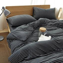 MisDress Striped Duvet Cover, Jersey Knit Cotton Duvet Cover