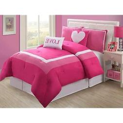 VCNY Comforter Sets Hotel Juvi Set, 4-Piece,Twin, Pink Love