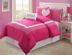 VCNY Hotel Juvi Comforter Set, 4-Piece,Twin, Pink Love