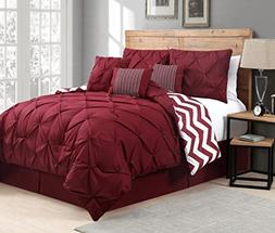 Avondale Manor 7-Piece Venice Pinch Pleat Comforter Set, Que