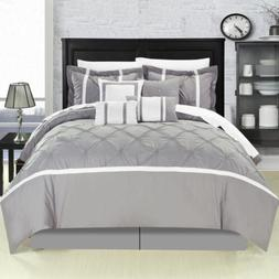 Vermont Grey Queen 12 Piece Comforter Bed In A Bag Set With