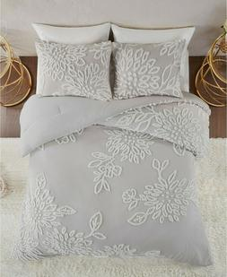 Madison Park Veronica 3Pc Tufted Cotton Chenille Floral Comf