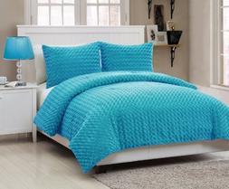 Victoria Classics Rose Fur 2-Piece Comforter Set, Twin, Blue
