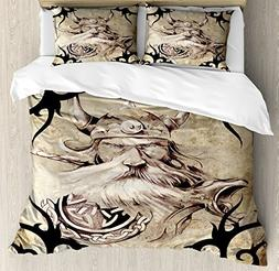 Lunarable Viking Duvet Cover Set Queen Size, Tattoo Pattern