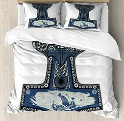 Lunarable Viking Duvet Cover Set Queen Size, Scandinavian Fo