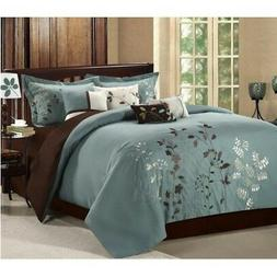 Chic Home Vines 8-Piece Comforter Bedding Set, Sage, Queen