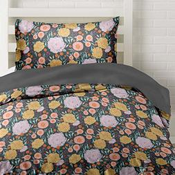 Vintage Floral on Gray Duvet Cover Twin Size Bedding, Grey w