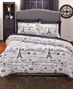Vintage Paris 3 Pc Comforter Set Pillow Shams Twin Queen Kin