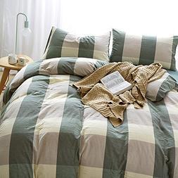 HIGHBUY 100% Natural Washed Cotton Duvet Cover Set King Geom