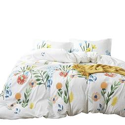 Wake In Cloud - Watercolor Comforter Set, Colorful Floral Le