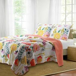 Greenland Home Fashions Watercolor Dream Floral Quilt Set