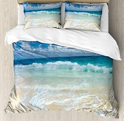 Wave King Size Duvet Cover Set by Ambesonne, Beach with Foam