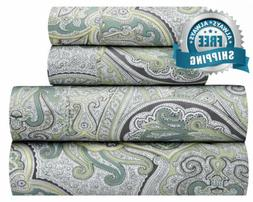 Waverly Traditions Paddock Shawl Mint Gray Paisley 4-Pc. Bed