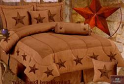 Western Comforter Set EMBROIDERED STAR 5PC Twin Set Brown &