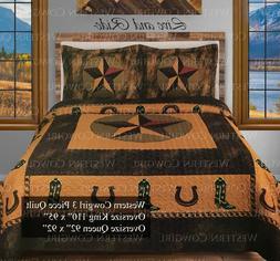 Western Star Horse shoe Cowboy Boot Quilt Bedspread Comforte