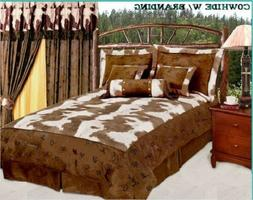 Western Twin Comforter Set 5pc Cowhide Look With Multi Brand
