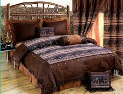 Western Twin Comforter Set Horses Mustangs With Fringe & Con