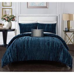 Chic Home Westmont 4 Pc Comforter Set Crinkle Crushed Velvet
