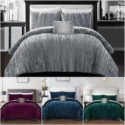 Chic Home Westmont 4 Piece Crinkle Crushed Velvet Comforter