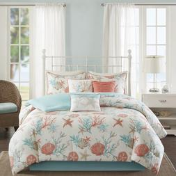 White Aqua Blue Coral Pink Beach Comforter Cal King Californ