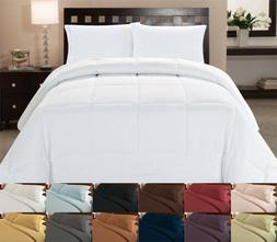 White Comforter & Color Duvet Cover 4 Piece Bedroom Bed Set