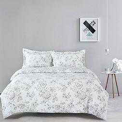 d7a62e7d3 Wake In Cloud - White Floral Comforter Set Queen, 3-Piece Vi