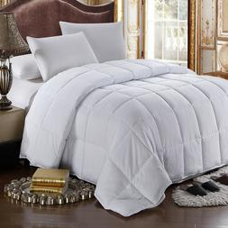 All Season White Goose Down Feather Comforter Cotton Hypoall