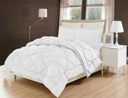 WHITE SOLID DOWN ALTERNATIVE COMFORTER DIAMOND STITCHED BED