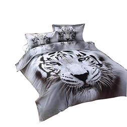 Cliab White Tiger Bedding Set Full Double Size 3D Animal Pri