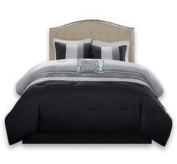 Comfort Spaces – Windsor Comforter Set- 5 Piece – Black,