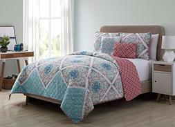 VCNY Home Windsor 5 Piece Reversible Quilt Cover Set, Queen,