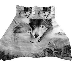 YSJ 3 PCS Wolf Duvet Cover Set Twin Full Queen King with Zip