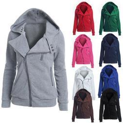 Women Zipper up Jumper Pullover Coat Jacket Hoodie Sweatshir