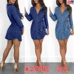 Womens Denim Jeans Mini Dress Long Sleeve Belted Casual T Sh