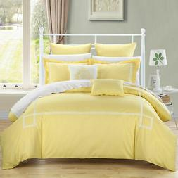 Chic Home Woodford Yellow Queen Embroidered Comforter Bed In