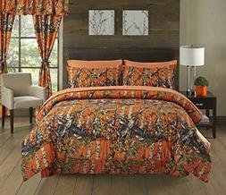 Regal Comfort The Woods Orange Camouflage King 4 Piece Premi