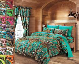 The Woods Queen Lime Camo 7 Piece Bedding Set Comforter and