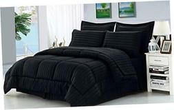 Wrinkle Resistant - Luxury Silky Soft Dobby Stripe Bed-in-a-