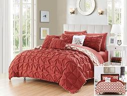 Chic Home 10 Piece Yael Pleated Pintuck and Aztec inspired p