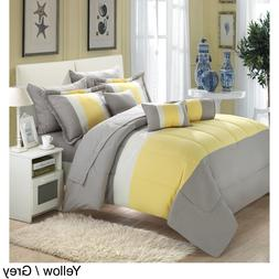Yellow Gray 10 Piece King Comforter Set With Sheets Striped