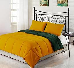 Yellow/Hunter Green KING Size 3-Piece Reversible Down Altern