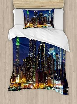 Ambesonne York Duvet Cover Set Twin Size, NYC Midtown Skylin