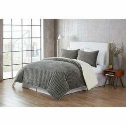 VCNY Home Zane Ribbed Plush Faux Fur Sherpa 3 pc Comforter B