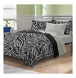 My Room® Zebra Black and White Comforter Set
