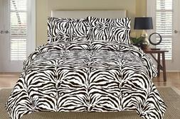 Zebra Black and White Down Alternative Comforter Set Twin